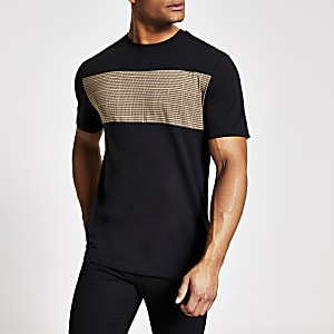 Only and Sons – Schwarzes T-Shirt in Blockfarben