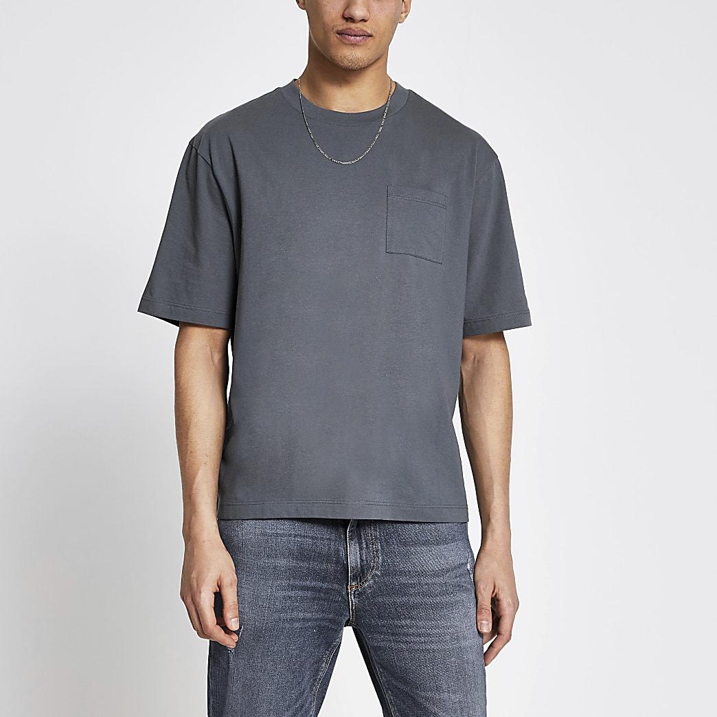 Grey pocket front boxy fit T-shirt