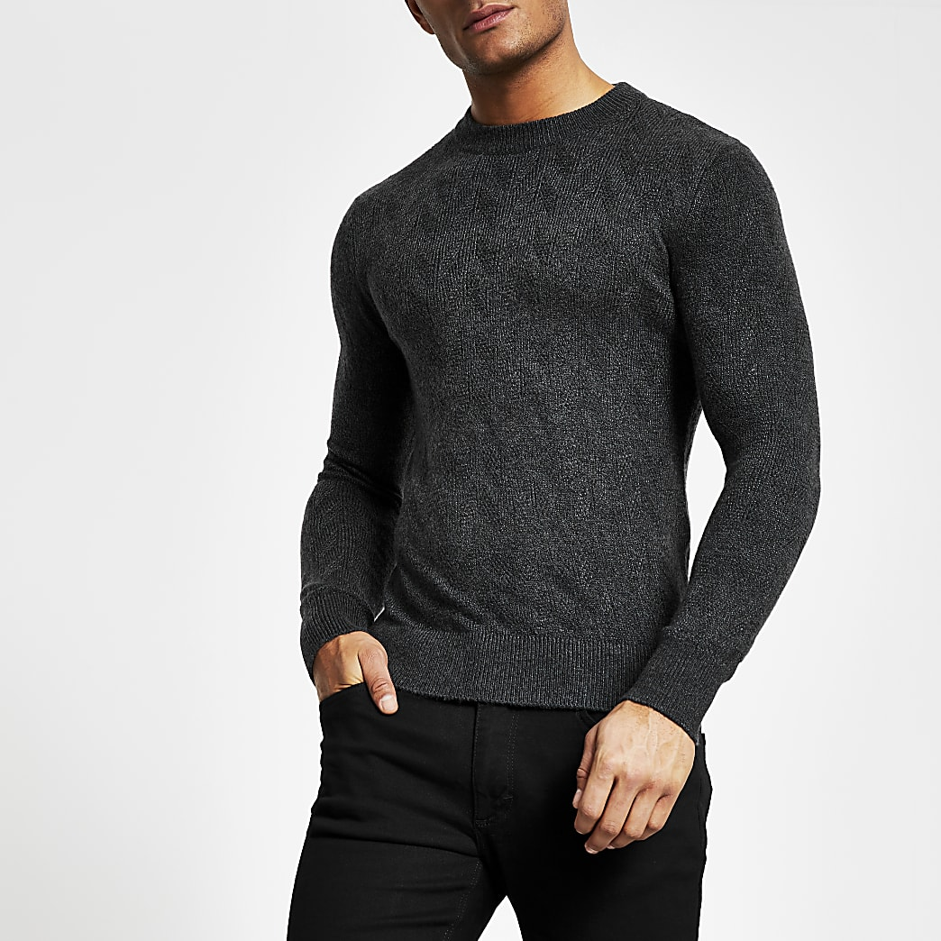 Selected Homme  – Pull en maille gris