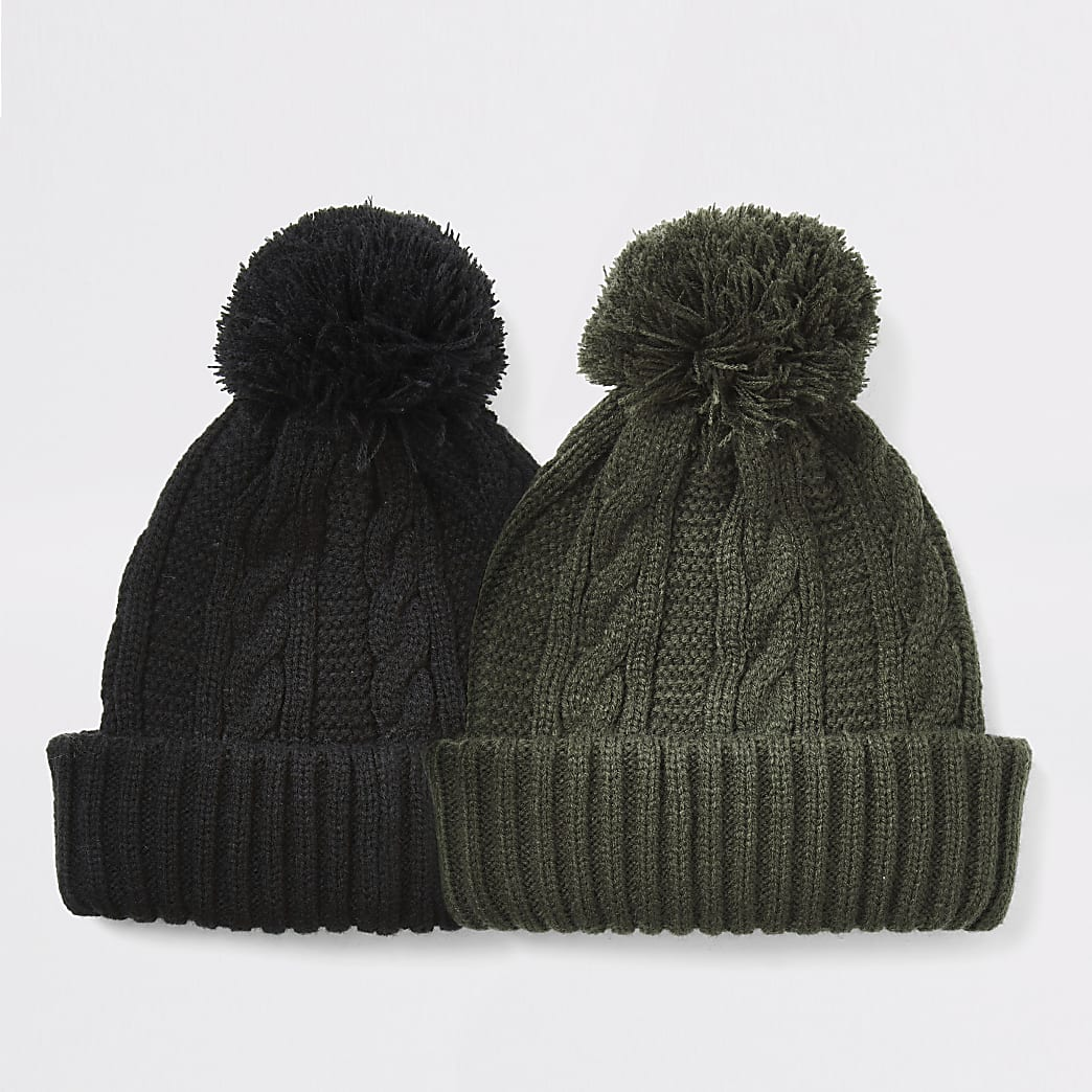 Black cable knitted bobble beanie hat 2 pack