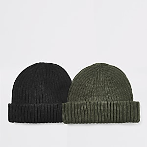 Lot de 2 bonnets docker noirs en maille