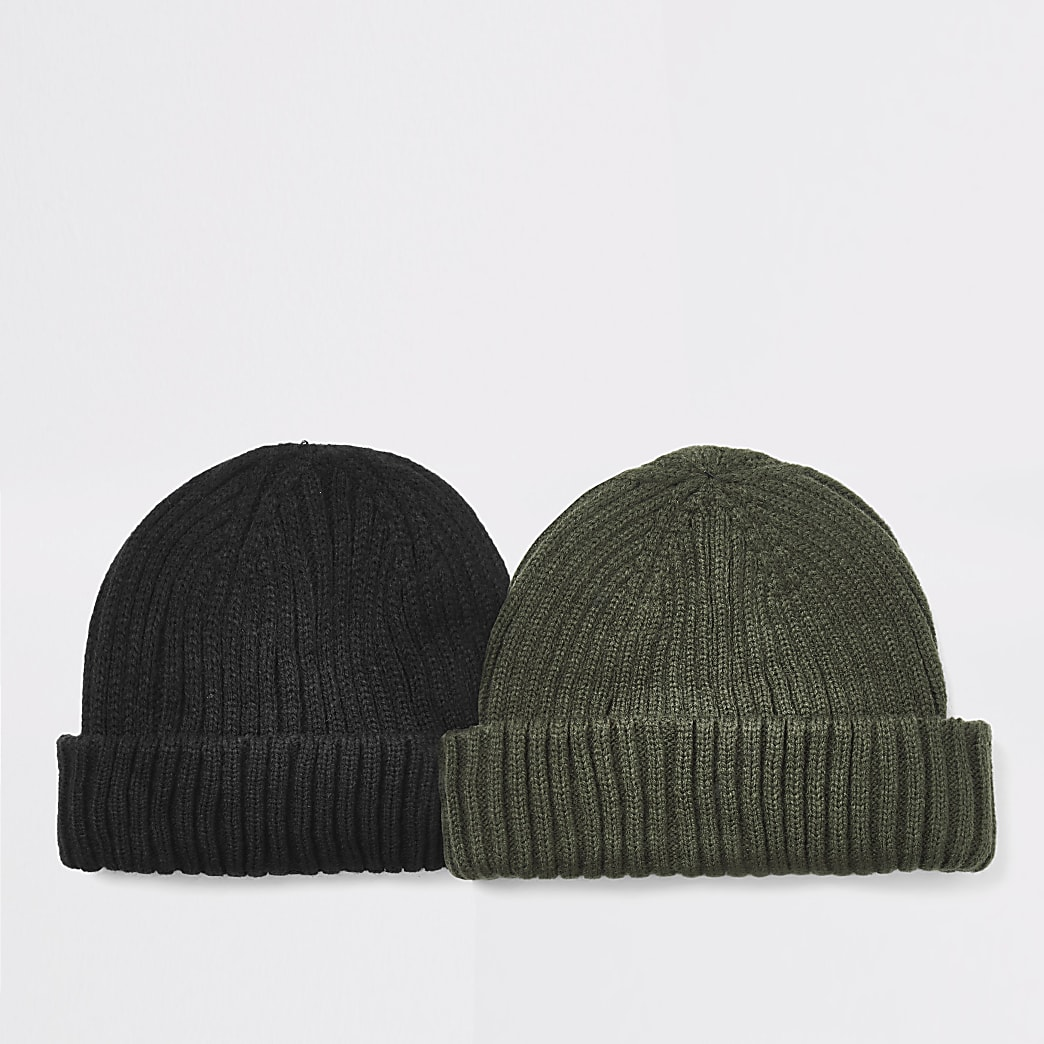Black knitted docker beanie hat 2 pack