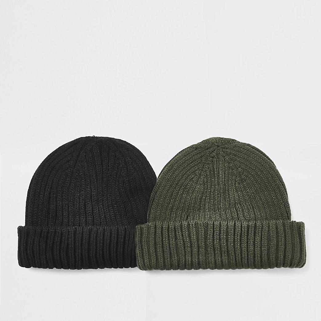 Lot de2 bonnets docker noirs en maille