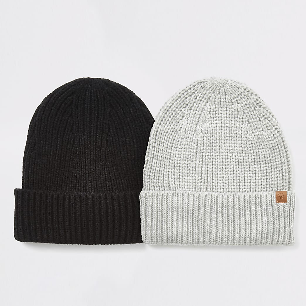 Grey knitted fisherman beanie hat 2 pack