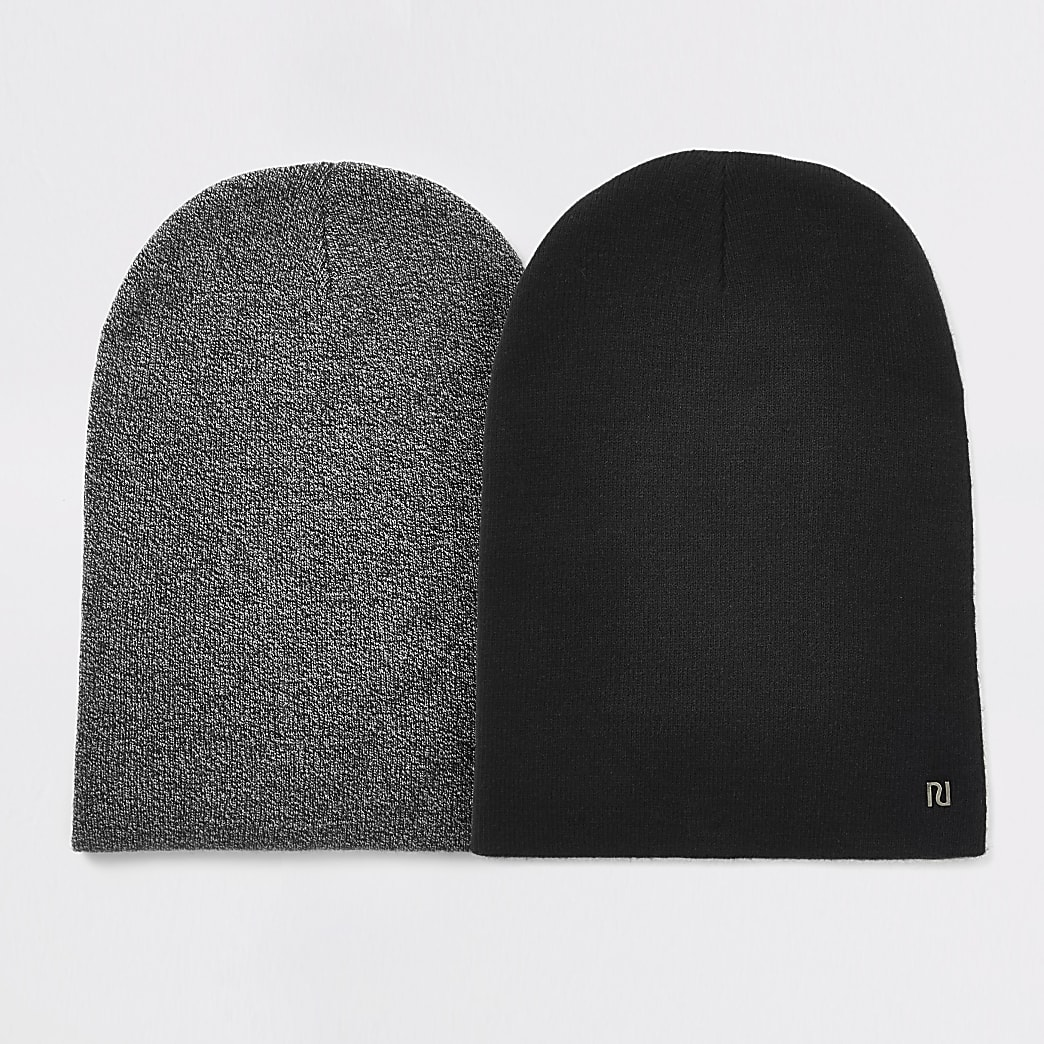 Grey knitted slouched beanie hat 2 pack
