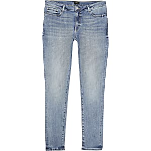 Big and Tall - Blauwe spray on skinny Ollie jeans