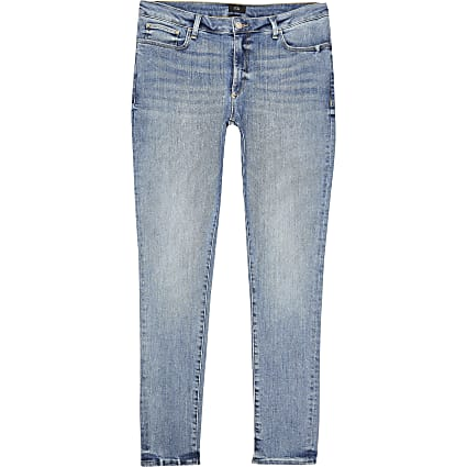 Big and Tall blue Ollie spray on skinny jeans