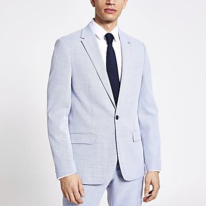 Blue textured slim fit blazer
