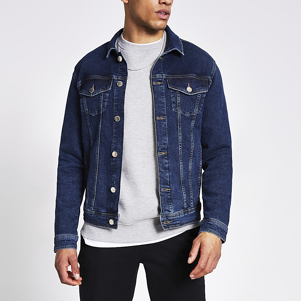 Dark blue classic fit denim jacket