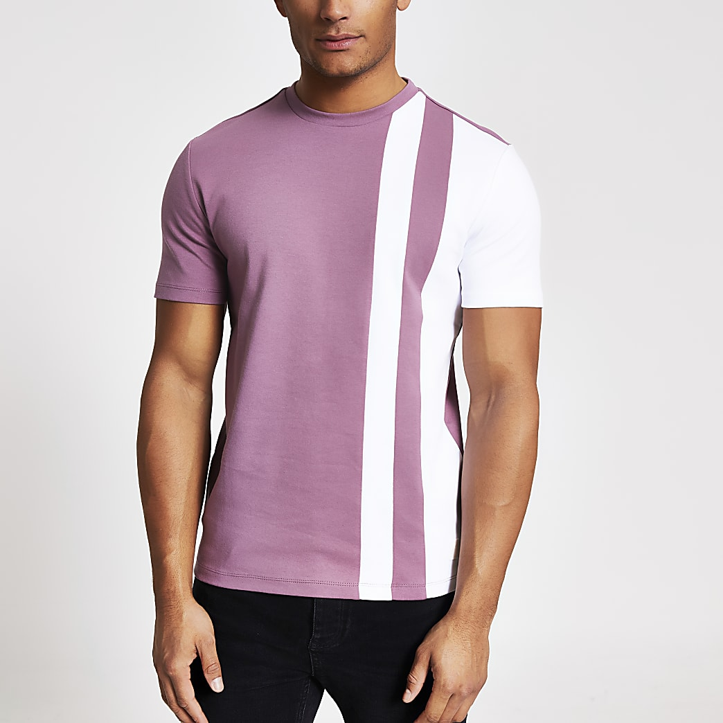 Maison Riviera - Paars gestreept T-shirt met kleurvlakken