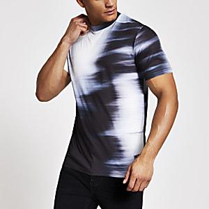 Weißes Slim Fit T-Shirt mit verschwommenem Farbverlauf