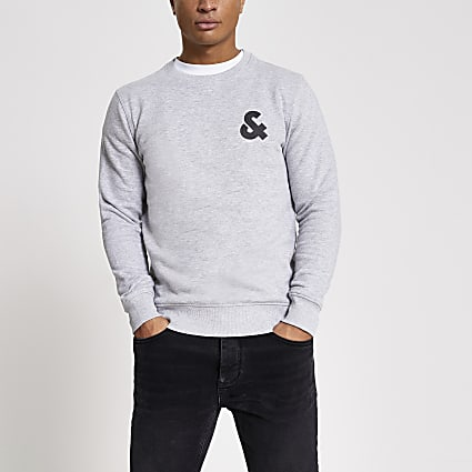 Jack and Jones grey '&' printed sweatshirt