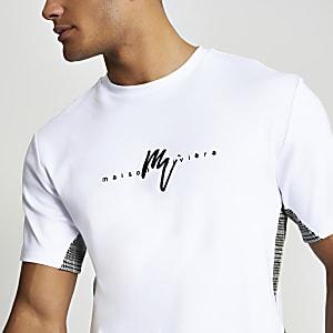 Maison-Riviera – Weißes T-Shirt mit karierten Blockfarben