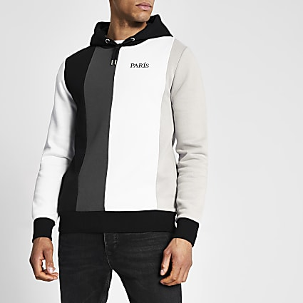Black colour blocked slim fit hoodie