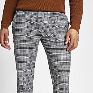 Pantalon super skinny à carreaux gris