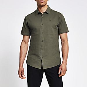 Maison Riviera - Kaki slim-fit piqué overhemd