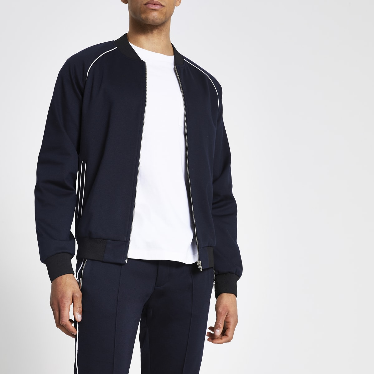 Navy piped skinny bomber jacket