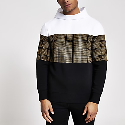 Black check blocked regular fit hoodie