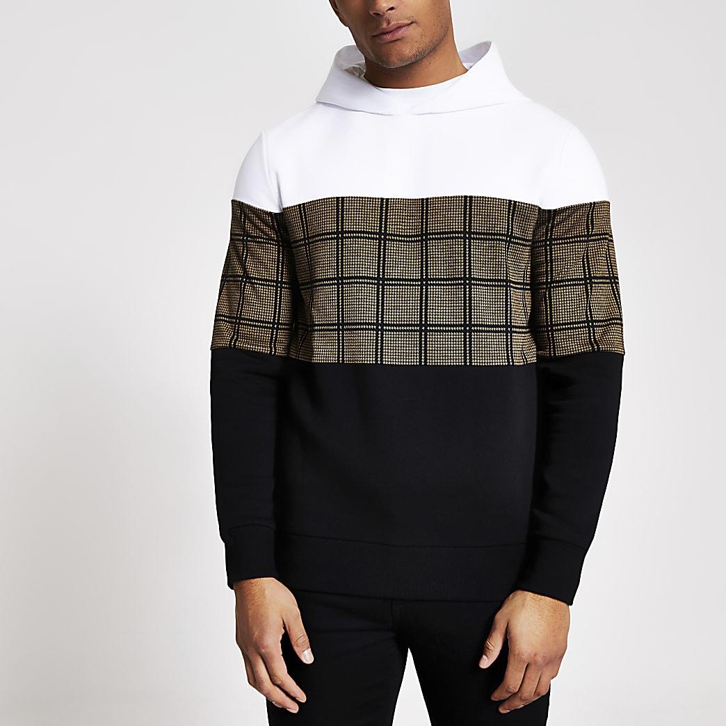 Black check blocked regular fit hoodie