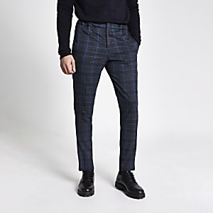 Selected Homme – Pantalon bleu marine à carreaux