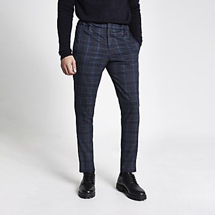Selected Homme navy check trousers
