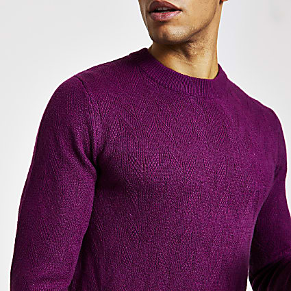 Selected Homme purple knitted jumper