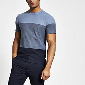 Selected Homme – T-Shirt in blauen Blockfarben