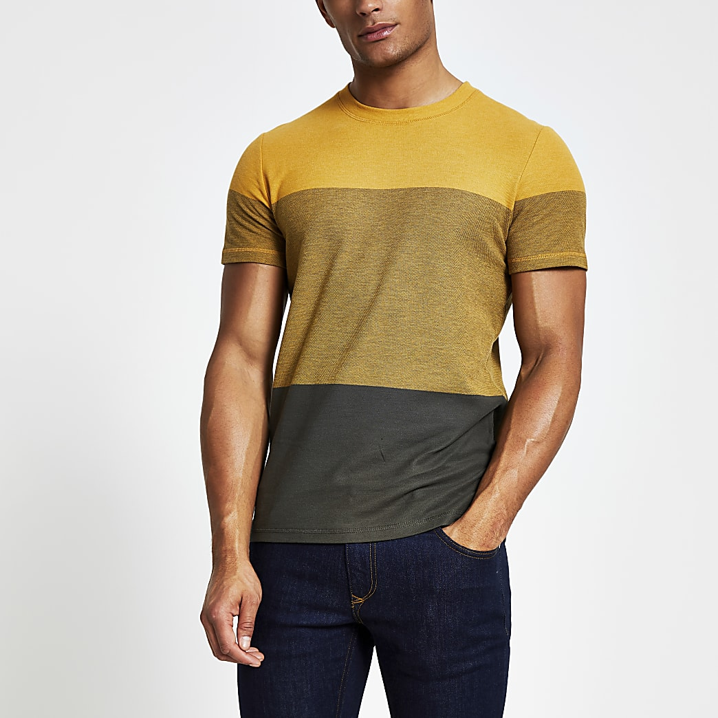 Selected Homme yellow blocked T-shirt
