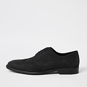 Zwarte leren distressed Derby brogues