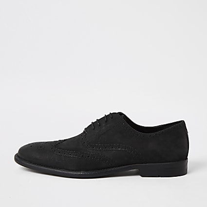 Black distressed leather derby brogues