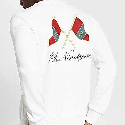 White R96 flag printed slim fit sweatshirt
