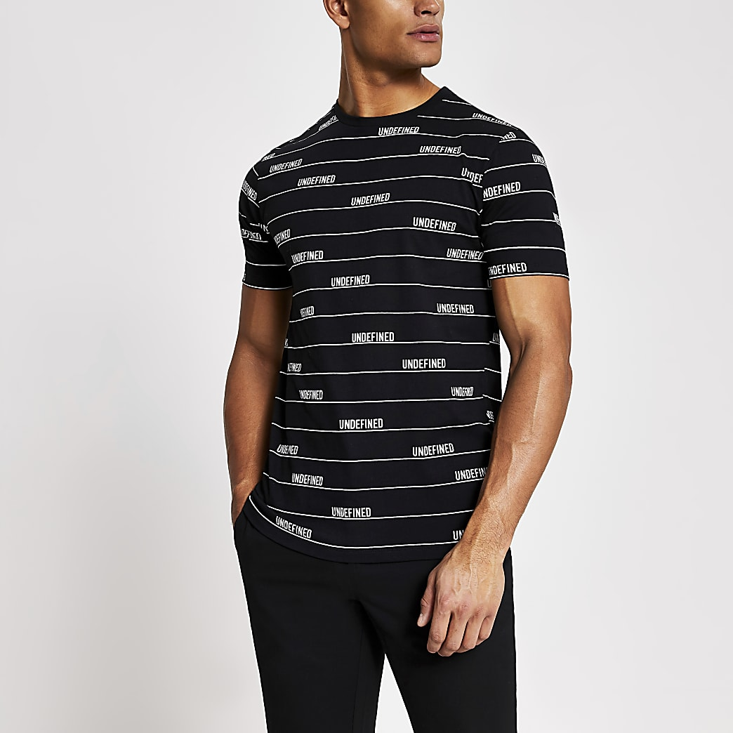 Zwart gestreept slim-fit T-shirt met 'Undefined'-tekst
