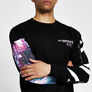 Zwart T-shirt met print en lange mouwen