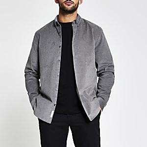 Maison RIviera– Chemise en velours côtelé gris