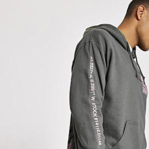 Grijze hoodie met lange mouwen en spetterprint
