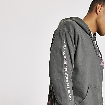 Grey splatter printed long sleeve hoodie