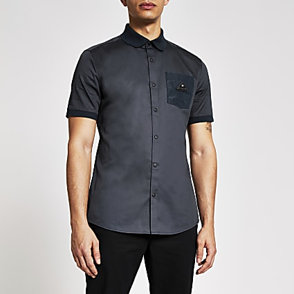 MCMLX navy badge pocket slim fit shirt