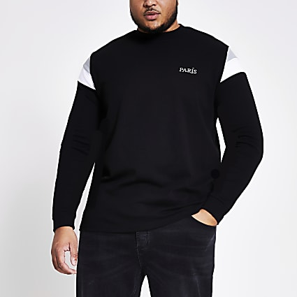 Big and Tall black blocked sweatshirt