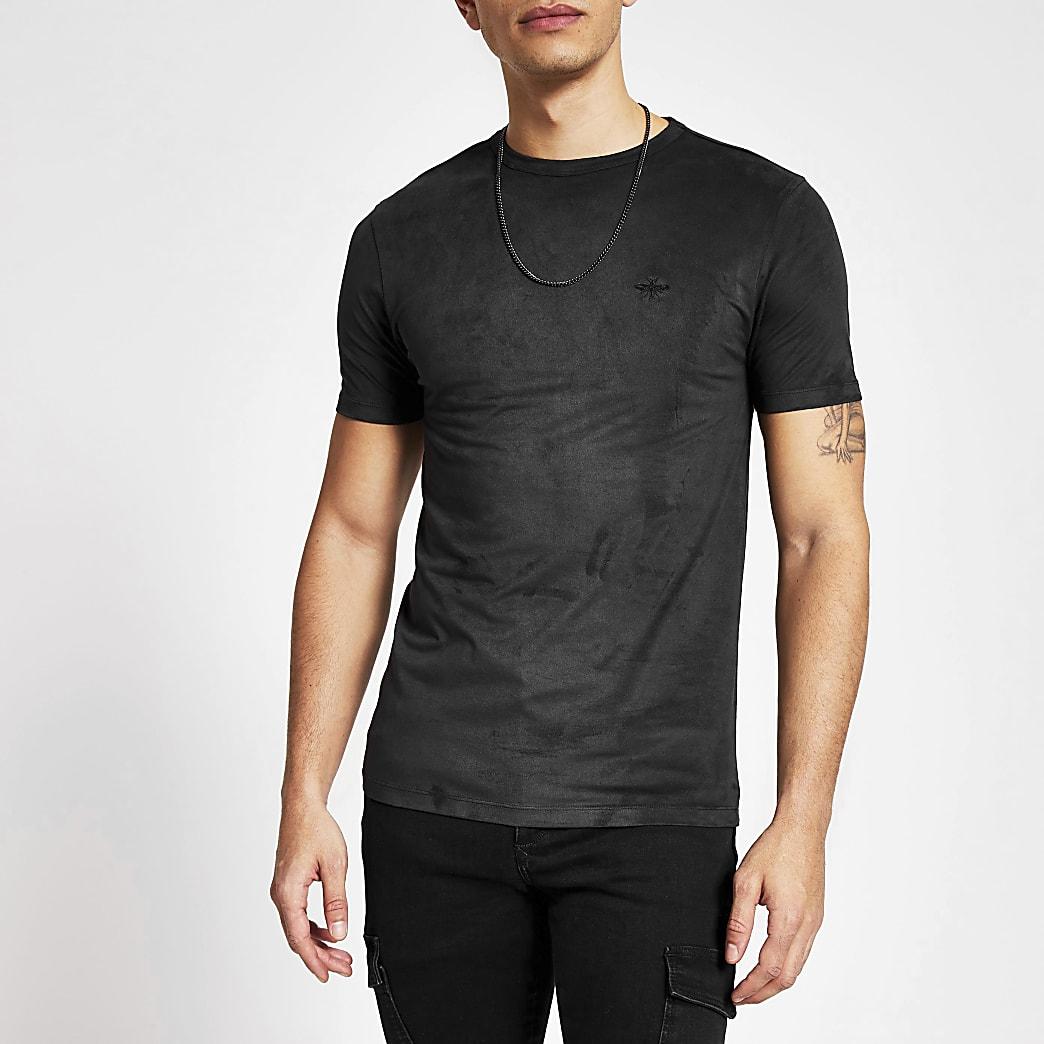 Schwarzes Muscle Fit T-Shirt aus Wildlederimitat