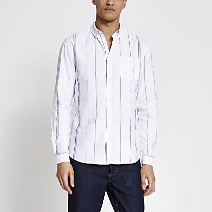 Ecru stripe short sleeve regular fit shirt