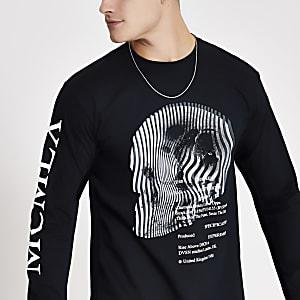 MCMLX Zwart T-shirt met print en lange mouwen
