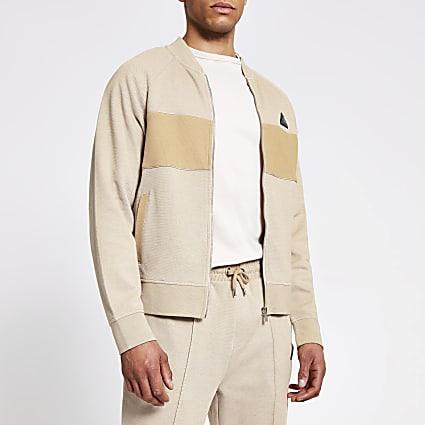 MCMLX stone two tone pique bomber jacket