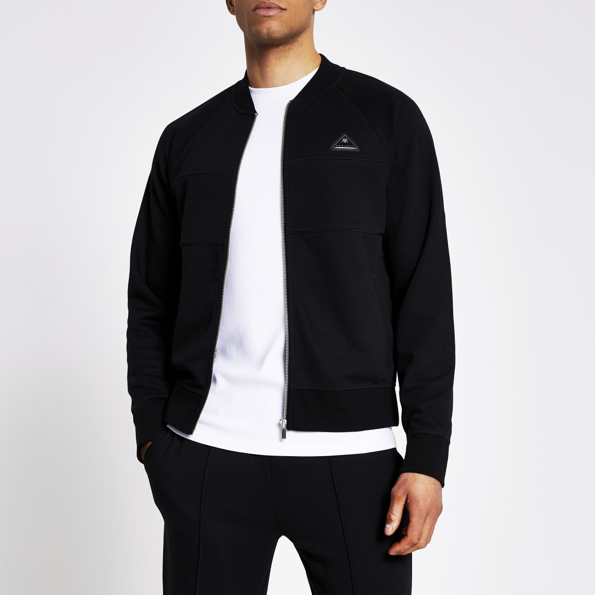 MCMLX black pique slim fit bomber jacket
