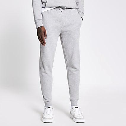 Grey marl elasticated waist joggers