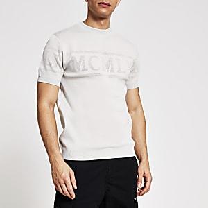 Grijs gebreid MCMLX T-shirt met korte mouwen