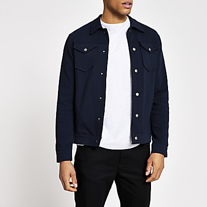 Jack and Jones navy trucker jacket