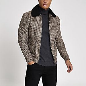 Jack and Jones – Braune, karierte Jacke mit Borg-Kragen