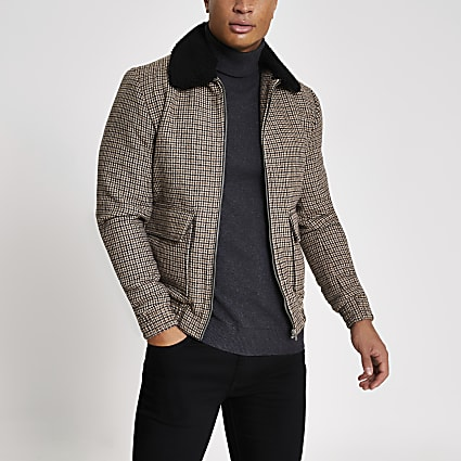 Jack and Jones brown check borg collar jacket