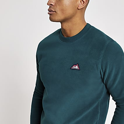 Jack and Jones green fleece sweatshirt