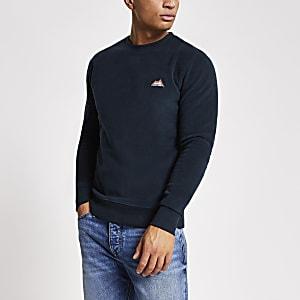 Jack and Jones – Marineblaues Fleece-Sweatshirt